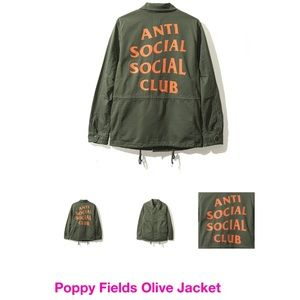 Antisocial social club poppy fields olive jacket